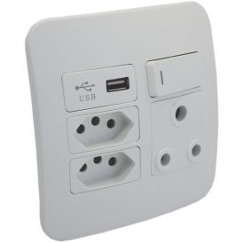 1 x RSA, 2 x RSA V-Slim and 1 x USB Charger Socket Outlet 10