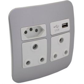 2 x RSA, 1 x RSA V-Slim and 1 x USB Charger Socket Outlet 5