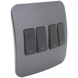 Four Lever One-Way Black Switch 6