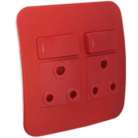 Double Dedicated Red Socket With DP Switch 6